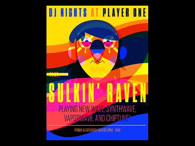 Sulkin Raven Poster typography painting digital art print illustrator art digital design drawing illustration
