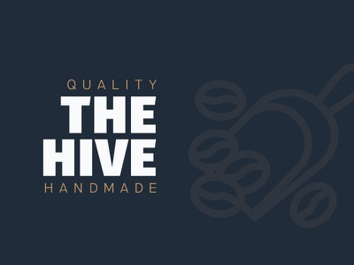 The Hive Café | Branding advertising graphic 2018 modern gold white navy blue sans geometric logotype branding creative