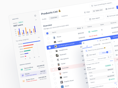 Ecommerce Sales Manager - Figma UI kit dashboard sales dashboard sales tool admin dashboard admin panel table managment responsive website responsive design statistics orders overview ux analytics sales ecommerce app ui kit ui design