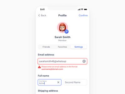 User Profile Settings Mobile - UI kit figma ui kit ui design mobile forms profile page account settings account inputs mobile inputs input edit profile edit user profile profile