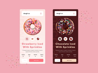 dough co ecommerce product mobile pink flat website simple web ux design modern ui clean