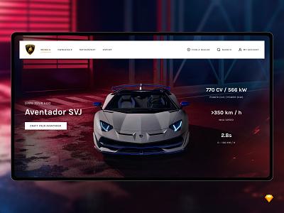 *Freebie* Lamborghini Redesign auto car website flat web minimal design ux modern ui clean freebie free