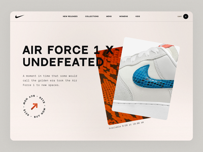 Air Force 1 x Undefeated white blue red website web design texture sneaker sketch nike landing page flat concept web modern clean simple minimal ux ui design