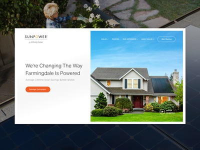 Solar Company - Home white website web ux ui simple orange modern minimal flat design clean