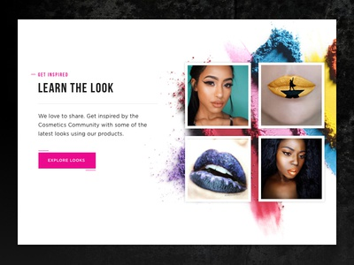 Cosmetics Brand - Featured Looks web ux ui simple pink modern minimal flat edgey design colorful clean