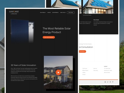 Solar Company - Technology  website web ux ui simple orange modern minimal flat design clean black