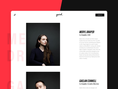 Team Profiles - About Page black white red agency modern clean ux ui website web