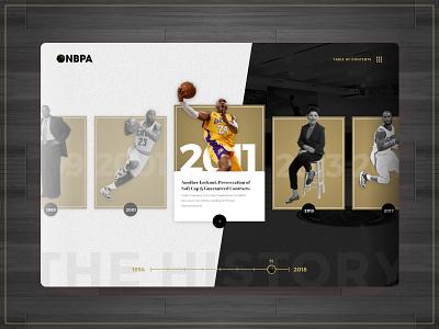 Timeline Concept - NBPA gold white black ui ux website web timeline clean modern basketball app