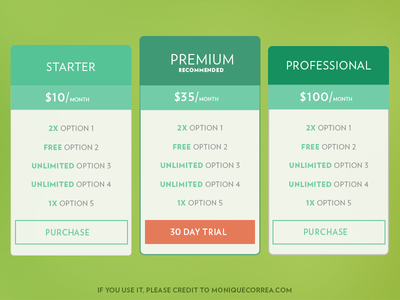Pricing Tables [Freebie]