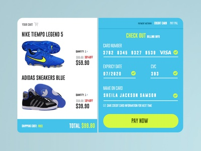 Daily UI :: 02 Credit Card Checkout (Freebie) freebie vivid colors flat user interface checkout credit card dailyui daily ui