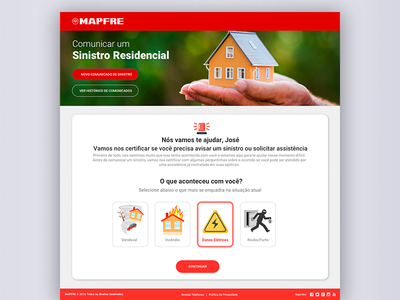 Sinistro Residencial  validation landing page flat material design