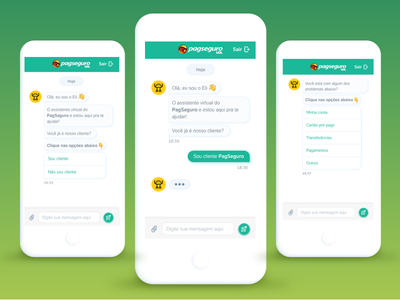 Chatbot Concept @ PagSeguro clean mobile app flat  design chat bubble chat app chat bot chatbot