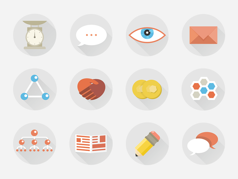Presentation icons icons color flat material set