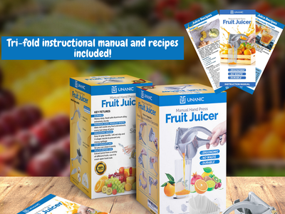 UNANIC Fruit Juicer Packaging Design For Amazon FBA and PL box packaging tri-fold product insert brochure amazon product packaging design logo design amazon graphic design amazon listing optimization amazon fba adobe illustrator adobe photoshop packaging design product design