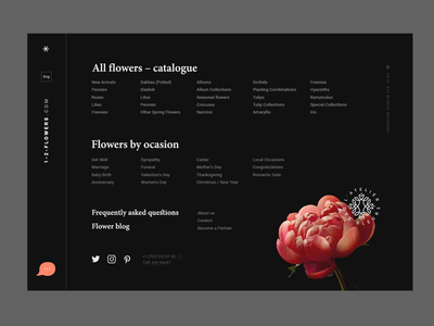 Menu screen of a flower shop typography ux ui interface concept flower shop web footer menu minimalistic