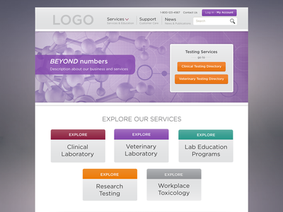 Clinical Lab Landing Page visual design ux ui website mockup professional gradient purple health branding services laboratory