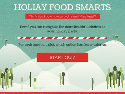 Healthy Holiday Food Quiz snow christmas quiz flat ui interactive web design illustrator holiday