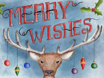 Merry Wishes 2015 lettering christmas digital watercolor card reindeer holiday