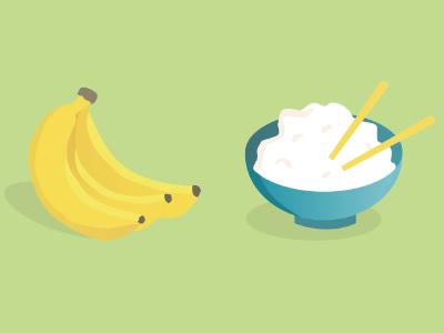 Bananas & Rice vector icon diet rice banana green health food illustration