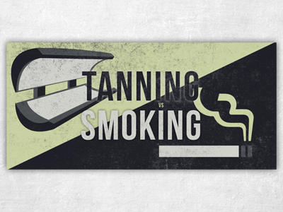 Tanning vs Smoking cigarette tanning health smoke vector distress grunge