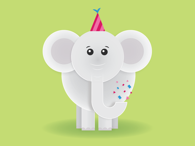 Party Animal jungle hat party flat vector birthday elephant