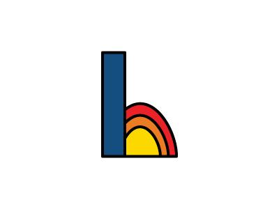Hunter's Logo 60s inspired identity primary colors thick lines illustrator h logo design logo