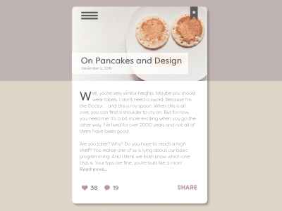 Daily UI 035 icons share pancakes color mobile blog post challenge ui app web design dailyui