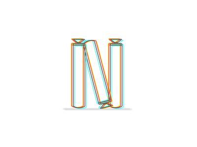 N erf illustration color letter nerf