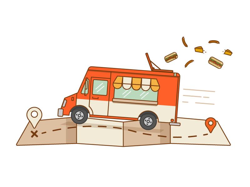 Food Truck delivery map food color illustration foodtruck