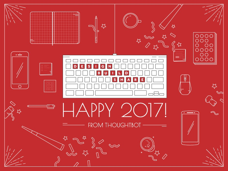 Happy 2017!  illustration red new years holiday card print design