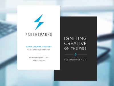 FreshSparks Business Card business card identity branding blue logo tagline