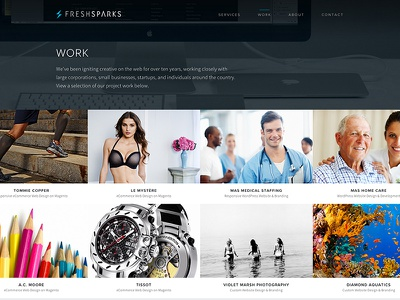 FreshSparks Work web design responsive portfolio website