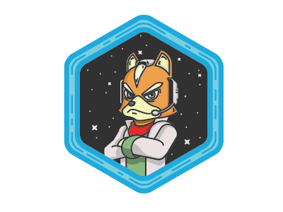 Fox Badge super smash bros. starfox debut illustration