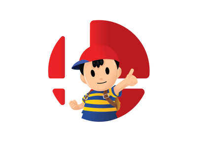 Ness Badge melee smash smash bros illustration ness super smash bros