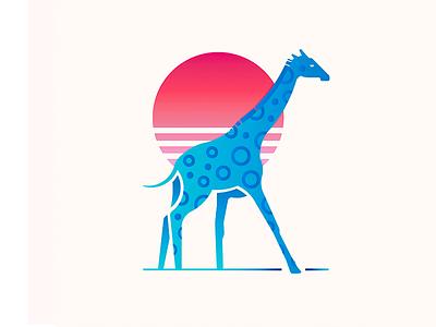 Blue Giraffe illustration giraffe