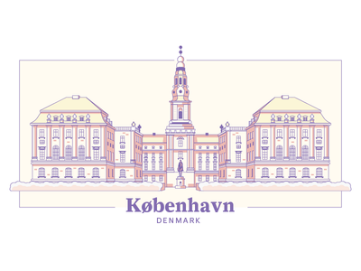 Christiansborg Palace castle palace architecture denmark illustration copenhagen