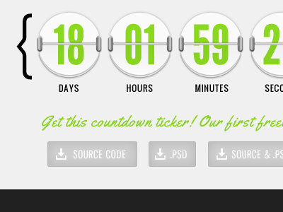 Countdown Freebie! code landing green themewithus countdown ticker timer clock freebie download psd time count-down pixels