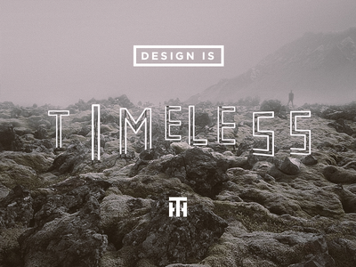 Design is timeless neon sign iceland landscape fog