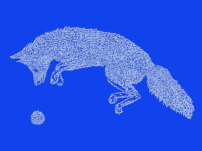 Fox / Kitsune fox electric blue illustration line art