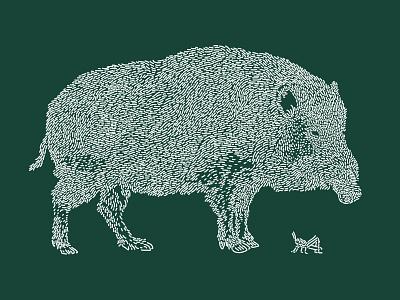 Boar / Inoshishi grasshopper green forest pig boar art line illustration