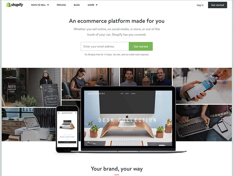 New Shopify Homepage whitespace simple white sign up conversion grid collage online store template ecommerce shopify