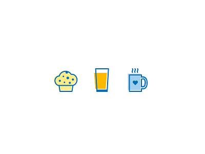 Good Morning icon set (updated) coffee mug orange juice icon vector blueberry muffin morning breakfast