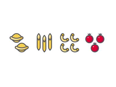Al Dente icon set vector icons icon set food cooking italian cooking tomato cherry tomato macaroni penne conchiglie pasta