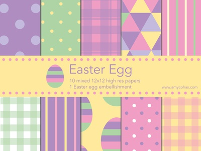 Easter Egg digital scrapbook papers