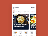 The New Swiggy! walkthrough onboarding update card 3d morph motion design prototype after effects animation food swiggy ux ui