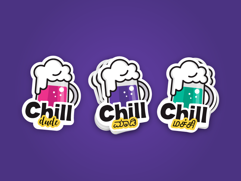 Beer Sticker drink froth foam alcohol die cut dude illustration cheers chill beer sticker
