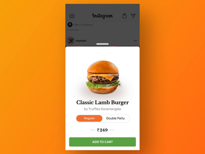 Order Food on Instagram - Concept design food app prototype motiondesign burger food instagram swiggy animation gif ux ui