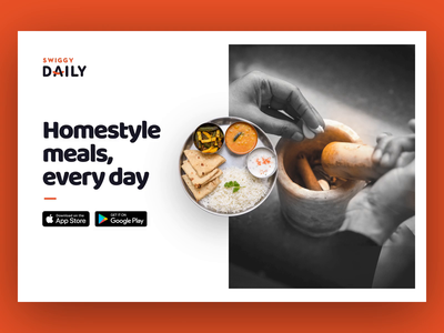 Swiggy Daily - Website design card parallax food swiggy website prototype after effects gif ui ux