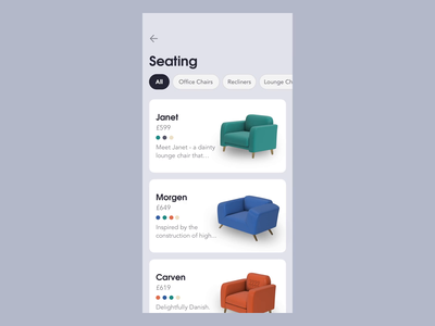 Furniture Shopping - 3D customize sofa ecommerce clean gif prototype chair furniture design c4d 3d after effects animation ux ui