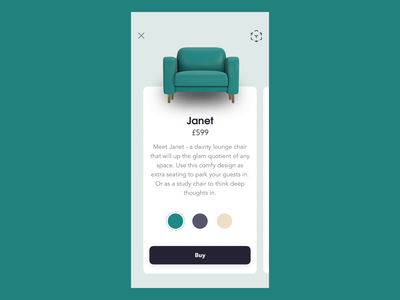Furniture Shopping - 360° view app design c4d customize 360 view clean furniture ecommerce gif prototype sofa ux ui animation aftereffects 3d